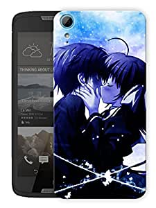 """Humor Gang Emo Couple Kissing Cartoon Printed Designer Mobile Back Cover For """"HTC DESIRE 828"""" (3D, Matte, Premium Quality Snap On Case)"""