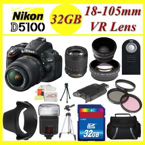 Nikon D5100 Digital SLR Camera with Nikon 18-105mm f/3.5-5.6G ED VR AF-S DX Nikkor Autofocus Lens + 3 Extra Lens + 32GB SDHC Memory Card & More !!