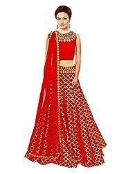 Isha Enterprise Women's Jacquard Red Lehenga Choli