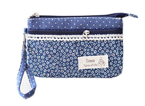 EOZY-Donna Borsa Floreale a Mano Hand Bag Cerniera Borsa Sacchetto Cosmetico Viaggi (Azzurro)