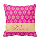 Decors Personalized,Name,Damask Pattern,Fuchsia Throw Pillow Case Cushion Cover Home Sofa Decorative 18 X 18 Pillow