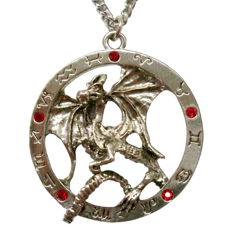 Gothic Dragon Surrounded By Zodiac Circle Medieval Renaissance Pendant Necklace