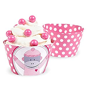 Sock Monkey Pink Reversible Cupcake Wrappers (12)