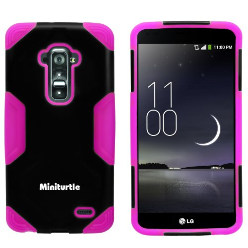 Miniturtle, 2 In 1 Hybrid Curved Shell Casing Hard Phone Case Cover, Stylus Pen, And Clear Lcd Screen Protector Film For Android Smartphone Lg G Flex /T Mobile D959, /At&T D950, /Sprint Ls995 (Black / Pink)