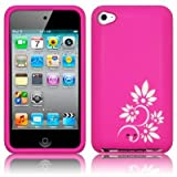 BPM White Flowers Pink Silicone Case Cover Skin & free Screen Protector for the Apple iPod Touch 4G 4th Generation - 8GB 16GB 32GB 64GB