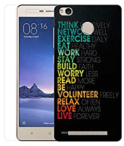 Indiashopers Combo of Quotes HD UV Printed Mobile Back Cover and Tempered Glass For Xiaomi Redmi Note 3S Prime