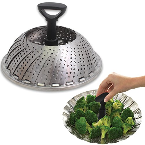 Easy Grip Collapsible Veggie Steamer Basket Kitchen Expandable Large 7-11 in. Stainless Steel (11 Steamer Basket compare prices)