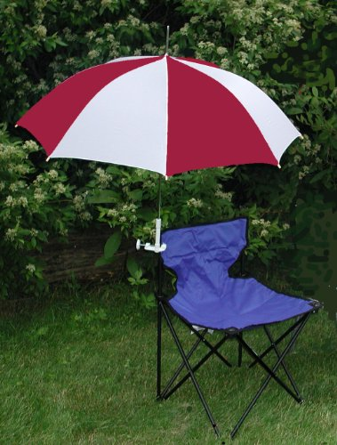 Burgundy/White Clamp On Chair Umbrella for Aluminum or Canvas Folding Chairs - Great for Back Yard Barbecues, Soccer Games, Vacation!
