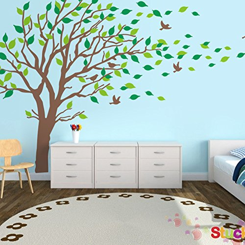 LUCKKYY Large Brown & Green Tree Blowing in the Wind Tree Wall Decals Wall Sticks