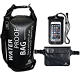 Set of 3 Premium Waterproof Bags -Dry Bag with Seals and Shoulder Strap, Waterproof Pouch with Waist Strap and Waterproof Phone Case -Protect your Valuables items in Any Water Activities! (Black, 10L)