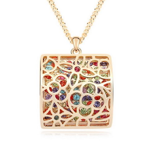 "Alvdis Fashion Jewelry Square Style Alloy Crystal Long Sweater Chain Pendant Necklace, 30"", Multicolor"