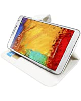 Etui Housse Luxe Blanc Stand et Portefeuille pour Samsung Galaxy Note 3 N9000 + STYLET et 3 FILM OFFERT !