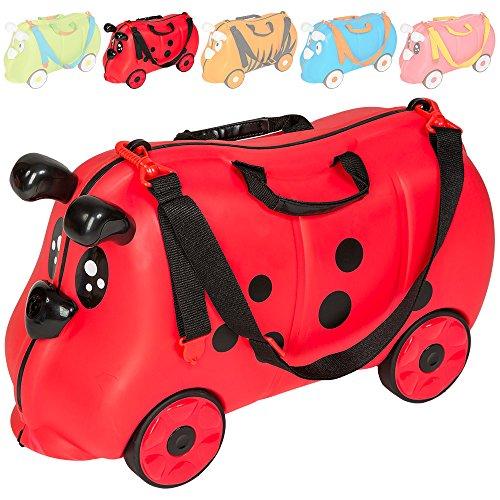 TecTake Valigia bagaglio cavalcabile con ruote per bambini - disponibile in diversi colori - (Coccinella | No. 401517)