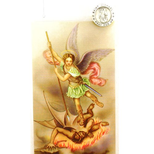 Pewter St. Michael Lapel Pin with Prayer Card.