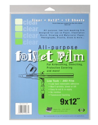 Grafix All Purpose Low Tack Frisket Film 9-Inch-by-12-Inch, Clear Pack of 12