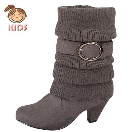 Top Moda Children's Sweater Top Winter Boots with Short Heels Auto16k