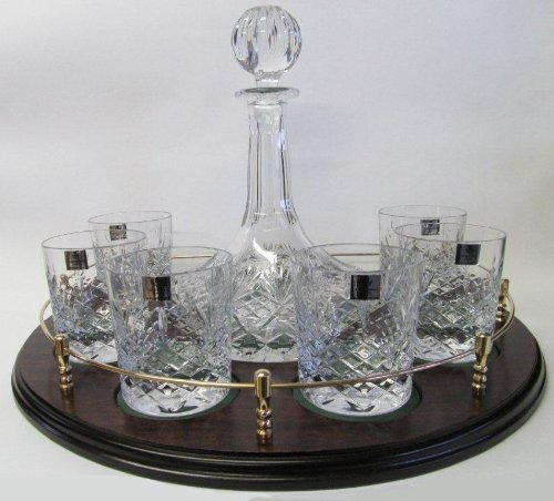 Bohemia Crystalite Cut Ships Decanter and 6 Whisky Glasses on Mahogany Veneered Tray with Gallery Rail and Solid Brass Fittings by Crystal of Distinction (Brass Gallery Tray compare prices)