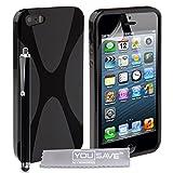 Cover iPhone 5 / 5S Custodia Silicone Gel X-Linea Nero Con Stilo Pennadi Yousave Accessories�