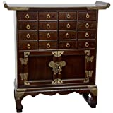 Fine quality oriental medicine chest hand crafted in an original 19th century Japanese / Korean design. The 16 miniature drawers are both a practical solution to storing collections of small kit and jewelry as well as a delightfully zen-like ...