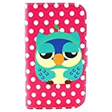 Luv You Samsung Galaxy S3 Mini i8190 Case,White Dots Blue Owl Pattern Style LV-YO Design Style Beautiful High Quality Luxury Premium PU Leather Feature Flip Magnet Wallet Stand Smart Case Cover Protective With ID Credit Card Holder Slots Cute TPU Case Fit For Samsung Galaxy S3 Mini i8190 NEWEST Model(Package:3D Crystal Diamond 3.5mm Dust Plug,Screen Skin Protector And Stylus Touch Pen)