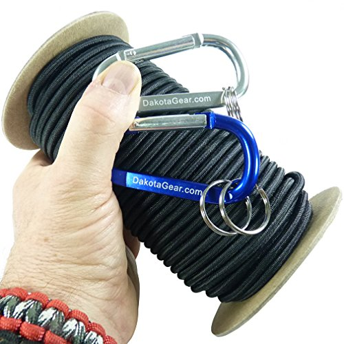 """Shock Cord - BLACK 1/8"""" x 25 ft. Spool. Marine Grade, with 2 Carabiners & Knot Tying eBook. Also called Bungee Cord, Stretch Cord & Elastic Cord."""