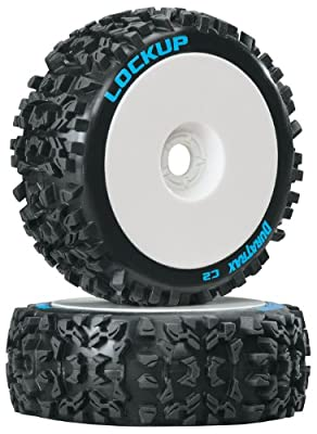 Duratrax Lockup C2 Mounted Buggy Tire (2-Piece) (1/8 Scale), White