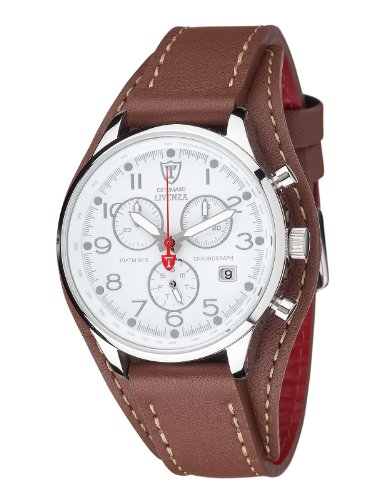 Detomaso Damen-Armbanduhr LIVENZA Silver/Brown Chronograph Quarz Leder DT3021-E