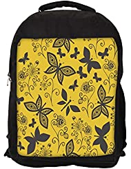 """Snoogg Black Butterfly Yellow Pattern Casual Laptop Backpak Fits All 15 - 15.6"""" Inch Laptops"""
