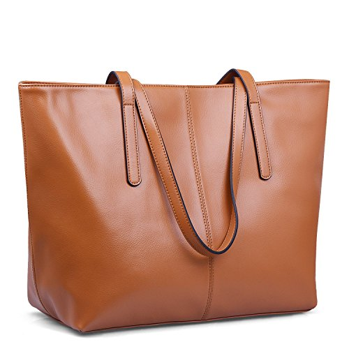 Image of Jack&Chris Women's Genuine Leather Tote Bag Handbag Shoulder Bag,WBDZ038 (Brown)