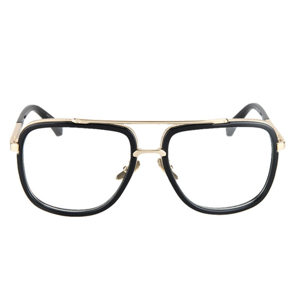 Vintage Men's Oversized Big Square Metal Frame Myopia Optical Eyeglasses 1