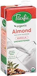 Pacific Natural Foods Organic Unsweetened Almond Beverage, Vanilla, 32 Ounce Boxes (Pack of 12)