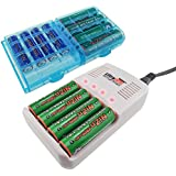 UltraCell Plus NiZn 1.6v AA - 2800mWh, AAA - 1150mWH High Voltage Rechargeable Batteries With Battery Box and Charger (Combo for 4pcs AA, 4pcs AAA, 2pcs Blue Battery Boxes, 1pcs NiZn Charger)