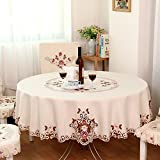 FADFAY Home Textile,Modern American Country Style Vintage Handmade Table Cloth,Designer Round Table Cloth,Wedding Round Tablecloth