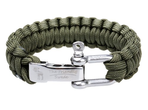 The Friendly Swede (TM) Premium Paracord Survival Bracelet With Stainless Steel D Shackle - Adjustable Size Fits 7-8 Inch Wrists - In Retail Packaging - Lifetime Warranty (Army Green)