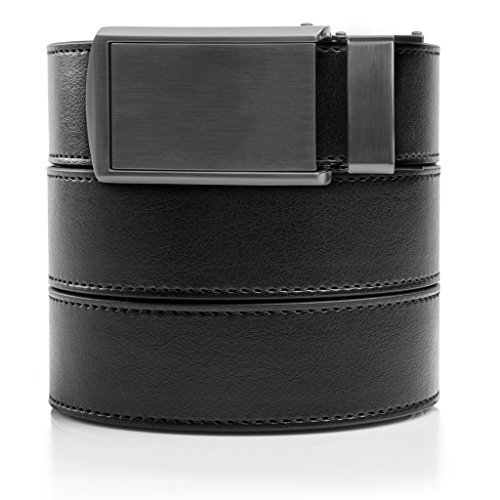 SlideBelts Men's Animal-Friendly Leather Belt without Holes - Gunmetal Buckle / Black Leather (Trim-to-fit: Up to 48
