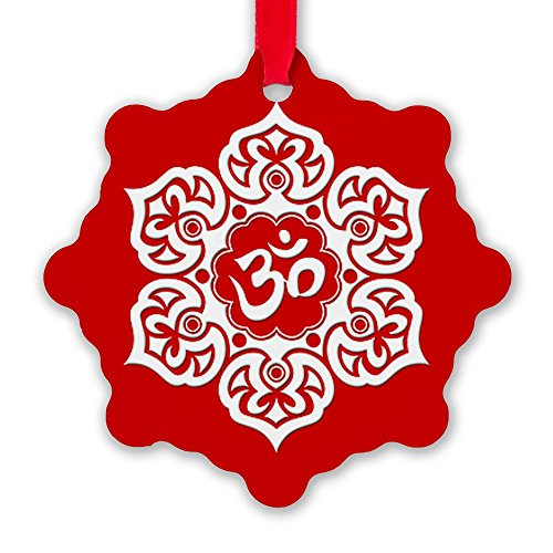 CafePress White and Red Lotus Flower Yoga Om Snowflake