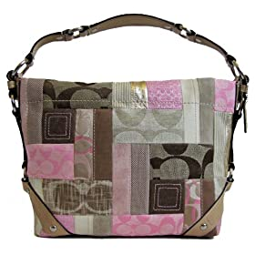 Coach Signature Carly Hobo Handbag Pink Khaki Tan Silver 13720