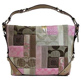 Coach Signature Carly Hobo Handbag Pink Khaki Tan Silver 13720