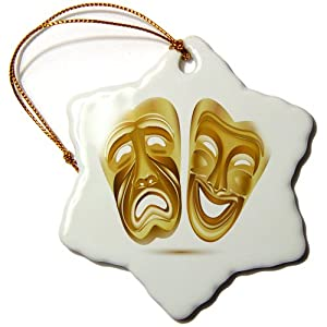 3dRose orn_111535_1 Two Gold Drama Masks Snowflake Ornament, Porcelain, 3-Inch