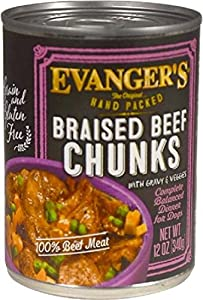 EVANGER'S 776150 12-Pack Hand-Packed Grain Free Braised Beef with Chunks Dinner for Dogs, 12-Ounce
