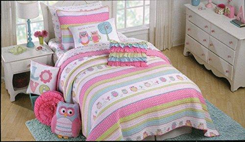 Cynthia Rowley Friendly Owls 3 Piece Twin Quilt, Sham & Throw Pillow Set