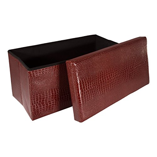 Smartfox-faltbarer-Sitzhocker-Sitzwrfel-Aufbewahrungsbox-Stauraum-76-x-38-x-38-cm-Rechteckig-in-Braun-Krokodillederimitat