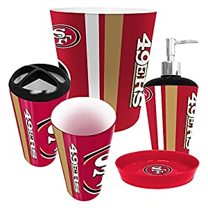 San francisco 49ers 5 piece bathroom set for 49ers bathroom decor