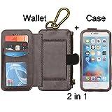 Givenmall iPhone 6,6s 取り外し可能なフォリオ付きプレミアムお財布ケース、キックスタンド付きツー・イン・ワン多機能レザーケース【全保護+ジッパーマグネットフリッパー]、11のカードスロットとギフトボックス-ブラウン