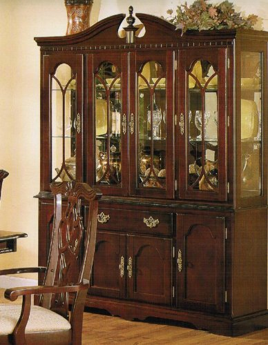 China Cabinet Buffet Hutch - Traditional Cherry Finish