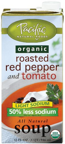 Pacific Natural Foods Light Sodium Organic Soup, Roasted Red Pepper & Tomato, 32-Ounce Cartons (Pack of 12)