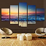 H.COZY 5 pieces printed canvas wall art Modern decorative painting image Sunset Seascape home decor canvas (unframed) far07 50 inch x30 inch