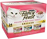 Purina Fancy Feast Wet Cat Food, Grilled, Poultry & Beef Feast Variety Pack, 3-Ounce Can, Pack of 24