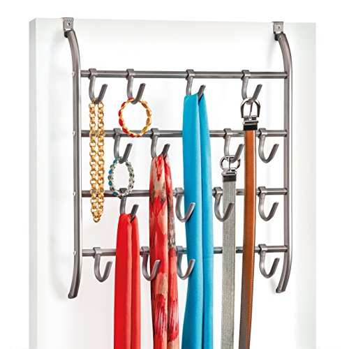 Lynk Over Door or Wall Mount Scarf Holder - Belt, Hat, Jewelry, Accessory Hanger - 16 Hook Organizer Rack - Platinum (Scarf Organizer Over The Door compare prices)