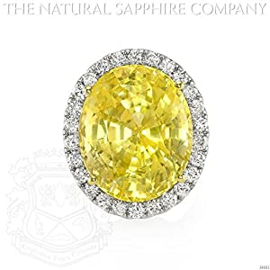 32.06ct Natural Untreated Oval Yellow Sapphire in 18k White Gold with 2.12cts of Diamonds (J4883)